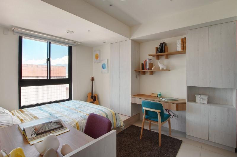免費室內裝潢設計北歐風格臥室系統櫃床墊書桌