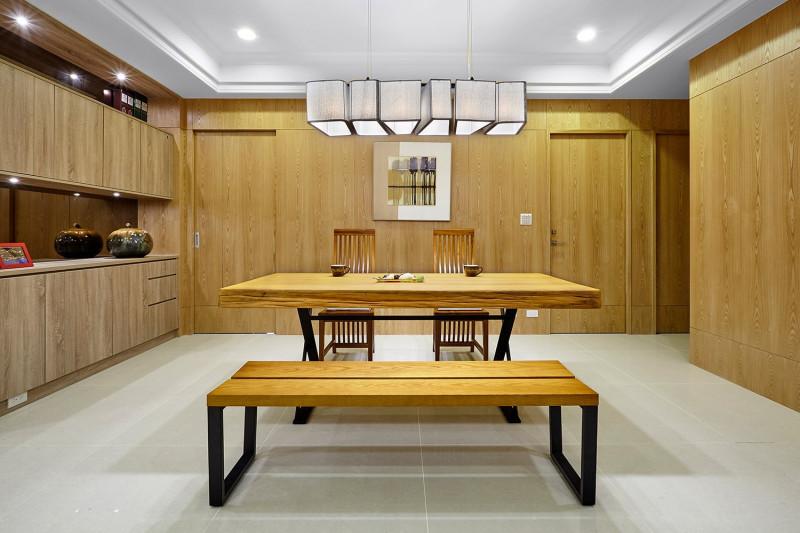 免費裝潢設計北歐風格餐廳戲統餐櫃原木桌板實木桌板